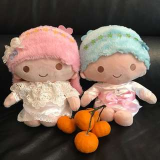Authentic Little Twin Stars plush (a pair) - added Crystals and Lace