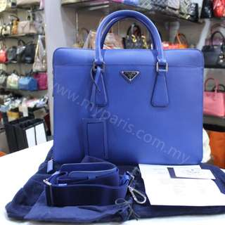 Prada VS0366 Saffino Cuir Leather Briefcase (Azzurro)