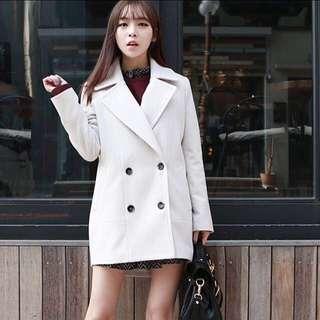 Korean Style Cream White Winter/Autumn Trench Coat \oversized\loose-fit