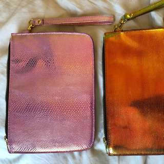 Holographic clutch - pink and orange