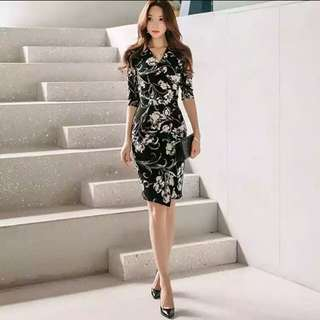 Office wear flower bodycon design dress