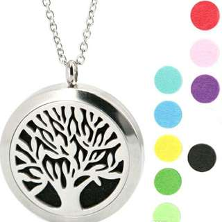 Tree of Life ~ Essential Oil surgical Stainless Steel Perfume Diffuser Oils Locket Necklace