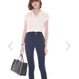 Anticlockwise Straight Cut Fitted Pants in Navy