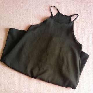 Black plain simple halter neck swing dress