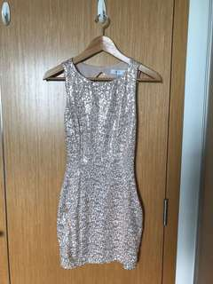 Nude Sequin Party Dress