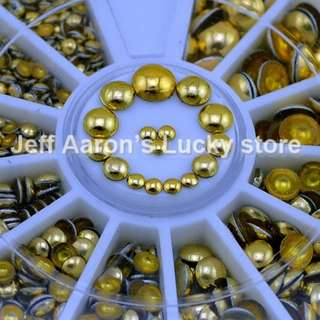 3D Flat Back Round Metal Nail Art Rhinestones Decorations Tools Alloy Studs Wheel Gold 4 Sizes 2MM 3MM 4MM 5MM