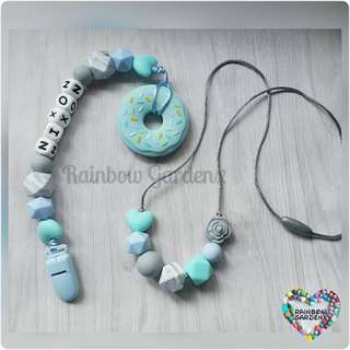 Handmade beads necklace & Pacifier Clip with customisation of name + Donut teether