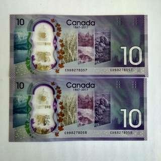Canada CAD10 commemorative - 2 runs