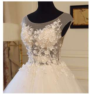 Beautiful French flower beaded Wedding Gown with illusion