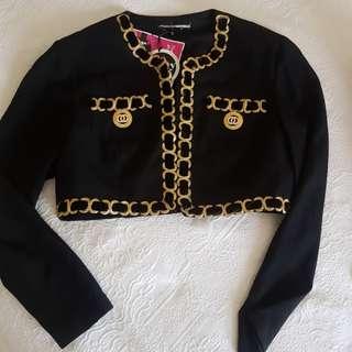 Vintage 💖 90s chanel style 💖 Gold Trim Cropped Jacket detail hardware