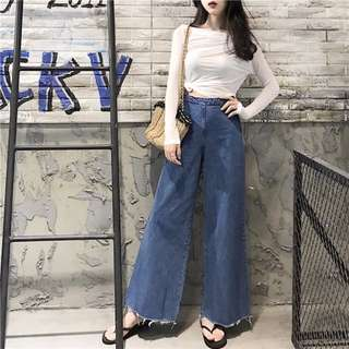 High-waist Loose Straight Bottom Jeans Pants