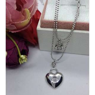 Authentic Bangkok Gold 10k Saudi Gold White Gold Heart Double Chain Necklace Non Tarnish (Not Pawnable)