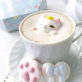 全新 新發售 日本 貓貓棉花糖 可放落熱飲調味
