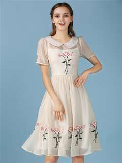 AO/HYC071569 - Lovely Doll Collar Embroidered Organza A-Line Dress