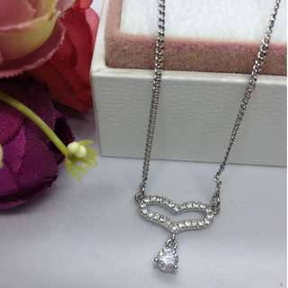 Authentic Bangkok Gold 10k Saudi Gold White Gold Heart Chain Necklace with Zirconia Stones Non Tarnish (Not Pawnable)