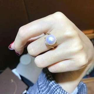 18K金或白金 雙線簡約大牌風戒指💍 爆亮小燈泡💡愛迪生11-12mm 正圓極強光!基本無暇! 重點: 珠光媲美澳白,讓人驚豔!超超超性價比!