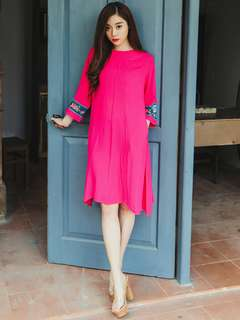 AO/KKC071608 - Simple Retro Fashion Embroidered Sleeve Loose Linen Dress