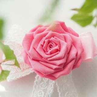 【浪漫薔薇】桃紅玫瑰花兩用髮夾/胸針/扣針 つまみ細工: 日系和風手工布花