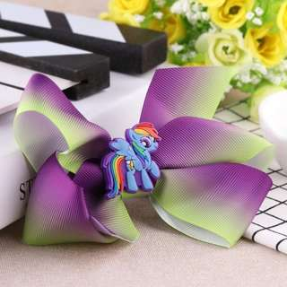 Unicorn Ribbon Bow Hair Clips in Purple