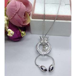 Authentic Bangkok Gold 10k Saudi Gold White Gold Round Butterfly Double Chain Necklace with Zirconia Stones Non Tarnish (Not Pawnable)