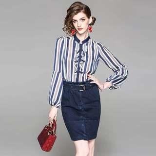 2pcs suit set long sleeve striped blouse ruffled shirts with denim bodycon pencil skirt