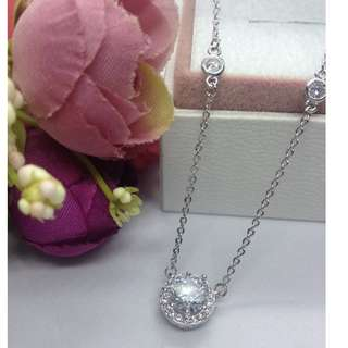 Authentic Bangkok Gold 10k Saudi Gold White Gold Dainty Round Centered Chain Necklace with Zirconia Stones Non Tarnish (Not Pawnable)