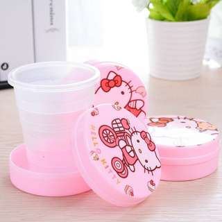 PORTABLE FOLDING CUP TRAVEL HELLO KITTY | GELAS LIPAT PLASTIK