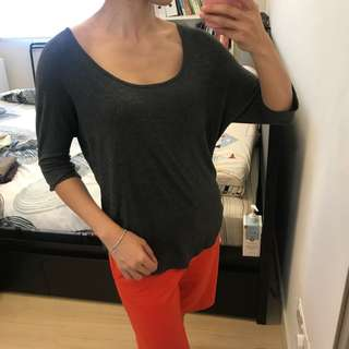 Dotti Grey Casual 3/4 Sleeve Top