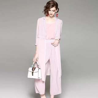 3pcs suit pink set open front long striped lapel blouse cardigan with matching straight wide trousers and spaghetti strap tank top slip