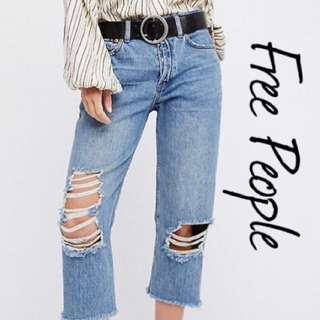 Free people cropped Boyfriend ripped jeans