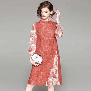 Fake two pieces long sleeve floral prints chiffon dress with embroidered lace stitching