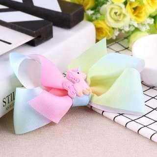 Unicorn Ribbon Bow Hair Clips in Pastel