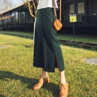 二手 墨綠色開叉寬褲