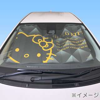 Japan Sanrio Hello Kitty Front Sunshade (Black & Gold)