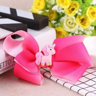 Unicorn Ribbon Bow Hair Clips in Pink