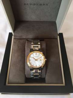 Burberry Silver Dial  Two-Tone Gold Plated  Ladies Wristwatch