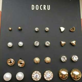 12 pairs set Round Heart Ball Gold Toned Alloy Crystal Stud Pearl Earrings