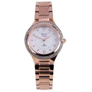 2665LHBRGMS Brand New Alexandre Christie Sapphire Quartz White Dial 100% Original Stainless Steel Bracelet Womens Casual Watch w/ Warranty