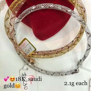 2.1 grms 18K Saudi gold bangle pawnable 100% Solid gold