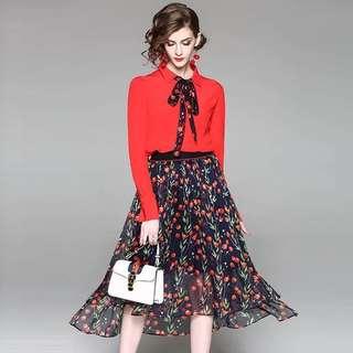 2pcs set viscose long sleeve tie bow shirt black/red cotton chiffon blouse top with floral print high low asymmetrical middi skirt