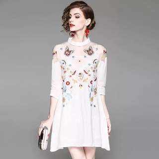 Linen shift embroidered dress lace mesh sheer floral blouse with an inner slip