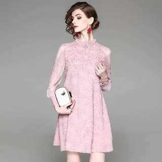 Sheer shoulder and sleeve black/pink jacquard chiffon loose shift waist dress cocktail evening mini gown