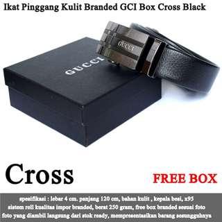 Ikat Pinggang Murah Kulit Branded GCI Box  black cross