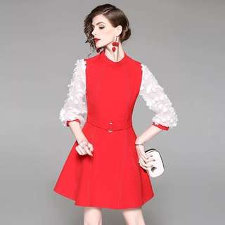 Contrast coloured sleeve and trim lantern puff sleeve belted red/black cotton dress