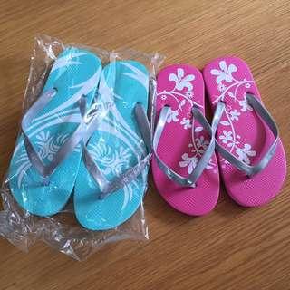 全新 沙灘拖鞋 夾腳拖 粉綠和桃紅各ㄧ 情侶款