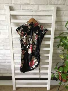 Black cheongsam top with flowers