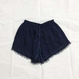bn navy dark blue pom pom shorts