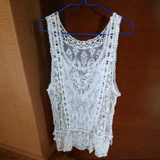 White Crochet Lace Top. Swimwear Cover Up.