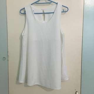 White sleeveless top-light crepe fabric