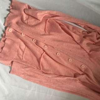 粉紅針織薄款外套
